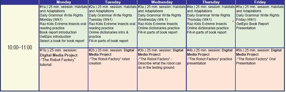 program A timetable